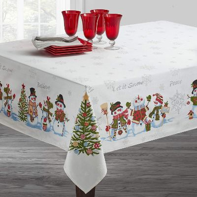 Benson Mills Believe Snowman Engineered Printed Tablecloth for Winter and Christmas