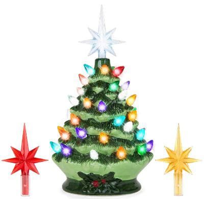 Best Choice Products 9.5in Pre-Lit Hand-Painted Ceramic Tabletop Artificial Christmas Tree