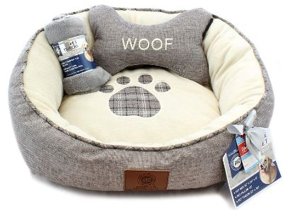 American Kennel Club 3-Pc Paw Round Pet Bed Gift Set W:Pillow & Throw