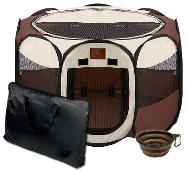 Parkland Pet Portable Foldable Playpen Exercise Kennel Dogs Cats Indoor:Outdoor Removable Mesh Shade Cover