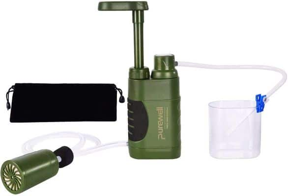 Water Purifier Pump with Replaceable Carbon 0.01 Micron Water Filter, 4 Filter Stages