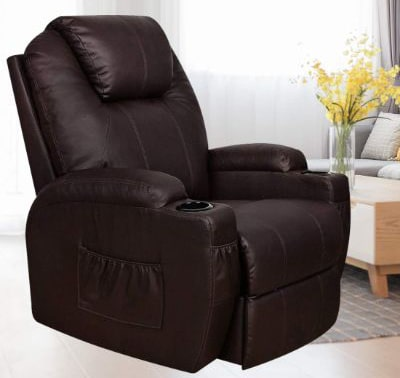 MAGIC UNION Power Lift Massage Recliner Heated Vibrating Chair with 2 Controls Wheels