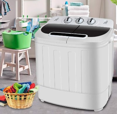 SUPER DEAL Portable Compact Mini Twin Tub Washing Machine w:Wash and Spin Cycle