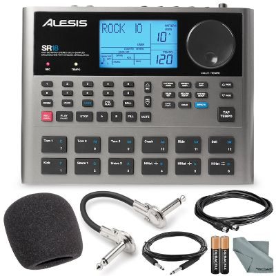 Alesis SR18 18 Bit Portable Drum Machine with Effects and Accessory Bundle