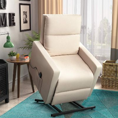 Merax Power Lift Chair and Power Recliner in Suede Fabric, Living Room Recliner