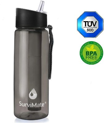 SurviMate Filtered Water Bottle BPA Free with 4-Stage Intergrated Filter Straw