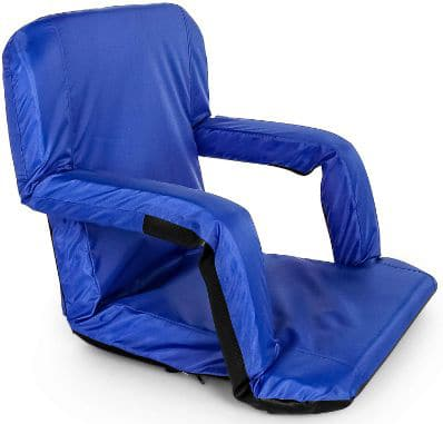 Camco Blue Portable Reclining Stadium Seat for Bleachers with Carry Straps-Water Resistant