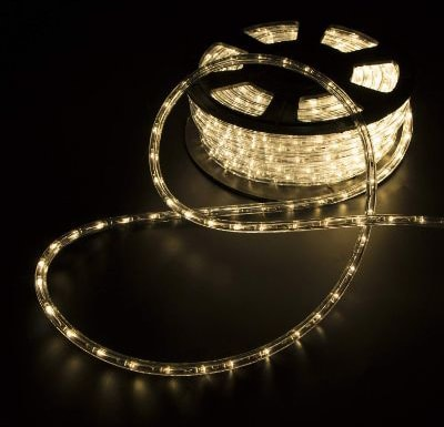 WALCUT 100' Warm White LED Rope Lights PVC Flexible Tubing Strip