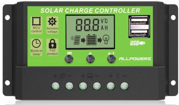 ALLPOWERS Dual USB 20A Solar Charge Controller 12V:24V Auto Paremeter