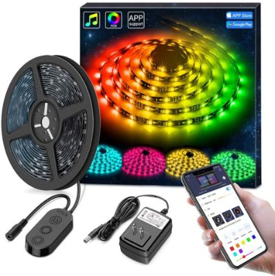 MINGER DreamColor LED Strip Lights, Smart Music Sync Light Strip