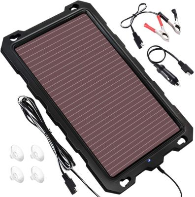 POWOXI Solar Battery Charger Car, 3.3W 12V Solar Trickle Charger