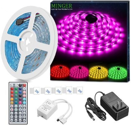 MINGER LED Strip Light Waterproof 16.4ft RGB SMD 5050 LED Rope Lighting