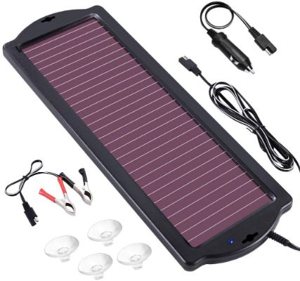 POWOXI 1.8W 12V Solar Trickle Charger for Car Battery, Portable and Waterproof