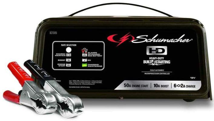 Schumacher SC1305 12V Fully Automatic Battery Charger and 10:50A Engine Starter