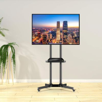Mobile TV Cart with Wheels for 32-65 Inch LCD LED Plasma Flat Screen TVs- Height Adjustable Rolling TV Stand