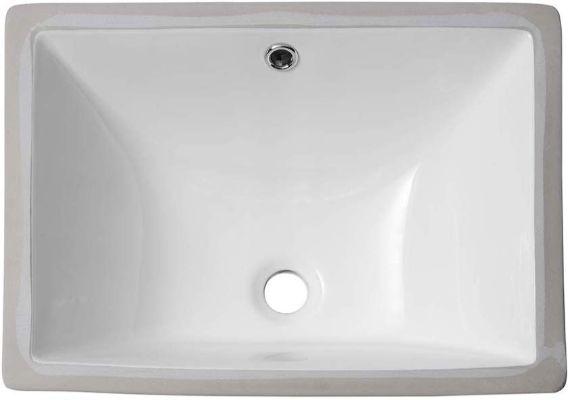 Sarlai Vessel Sink Rectrangle Undermount - 18.5'' Pure White Porcelain Ceramic Lavatory Vanity Bathroom Sink