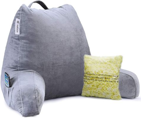 Vekkia Premium Soft Reading & Bed Rest Pillow with Memory Foam, Support Arms, Pockets, Removable Cover