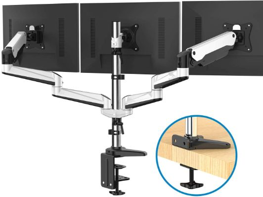 Triple Monitor Stand - Full Motion Articulating Aluminum Gas Spring Monitor Mount