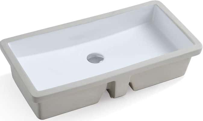 KINGSMAN Durable 27.9 Inch Rectrangle Undermount Vitreous Ceramic Lavatory Vanity Bathroom Sink