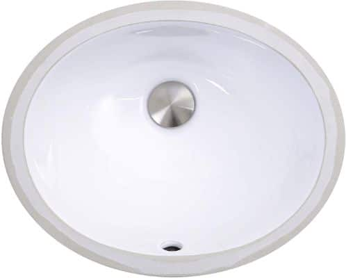 Nantucket Sinks UM-13x10-W 13-Inch by 10-Inch Oval Ceramic Undermount Vanity Sink