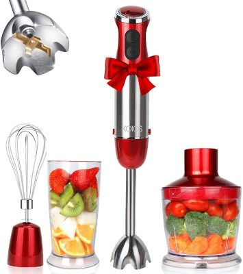 KOIOS Powerful 800W 4-in-1 Hand Immersion Blender 12 Speeds, Includes 304 Stainless Steel Stick Blender