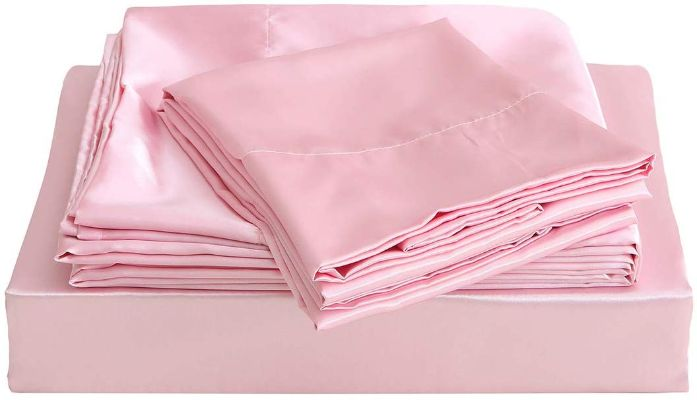 Vonty Satin Sheets Twin Pink Silky Satin Sheet Set, Deep Pocket Fitted Sheet