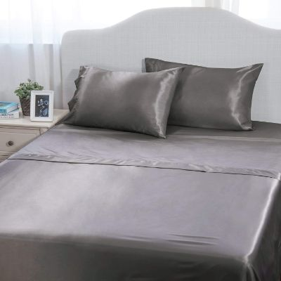 Bedsure 4-Pieces Satin Bed Sheet Set Queen Dark Gray Smooth and Silky with Deep Pocket Fitted Sheet