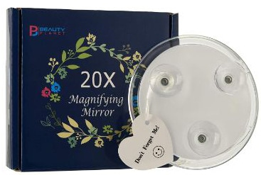 20x Magnifying Mirror with 3 Suction Cups