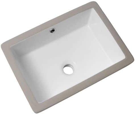 Lordear 18'' Undermount Bathroom Vessel Sink Rectangle Porcelain Ceramic Lavatory Vanity Bathroom Sink