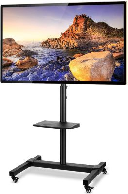 5Rcom Mobile TV Cart Rolling TV Stand with Wheels Height Adjustable