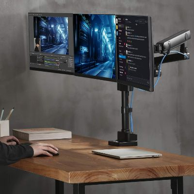 AVLT-Power Triple 27 Monitor Desk Stand - Easy Installation New Top Mounting