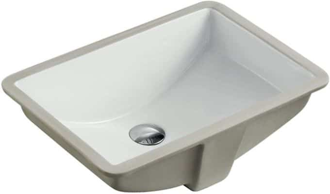KINGSMAN 20.9 Durable Rectangle Undermount Vitreous Ceramic Lavatory Vanity Bathroom Sink