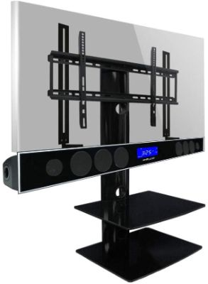 Swiveling TV Wall Mount with Two Shelves