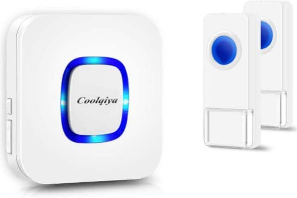 Coolqiya Wireless Doorbells Chimes for Home with 2 Remote Door Bell Buttons