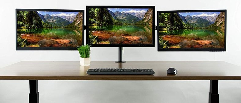 VIVO Black Triple Monitor Adjustable Desk Mount