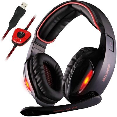 Sades SA902 7.1 Channels Virtual USB Surround Stereo Wired PC Gaming Headset Over Ear Headphones