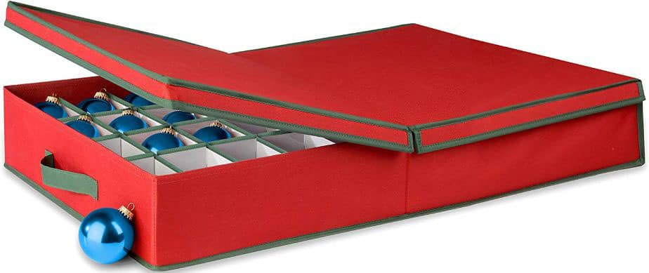 Honey-Can-Do Ornament Storage Box with Dividers, Red:Green