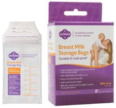 MilkiesNo-Break, No-Leak Breast Milk Storage Bags, 50-Count, BPA-Free