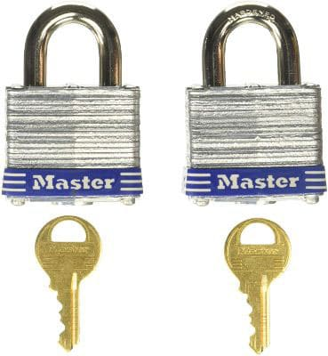 Master Lock 3T 1-9:16-Inch Wide Keyed-Alike Padlock, 9:32-Inch Shackle, 2-Pack