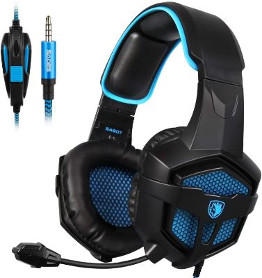 SADES New SA807S Over-Ear Stereo Gaming Headset Headband Headphones with Microphone:Control-Remote