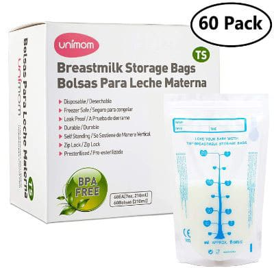 60 Thermal Sensor Breast Milk Bags – Shows when Milk is Frozen, Cold or Hot - Self Standing, Zip Top, Leak Proof