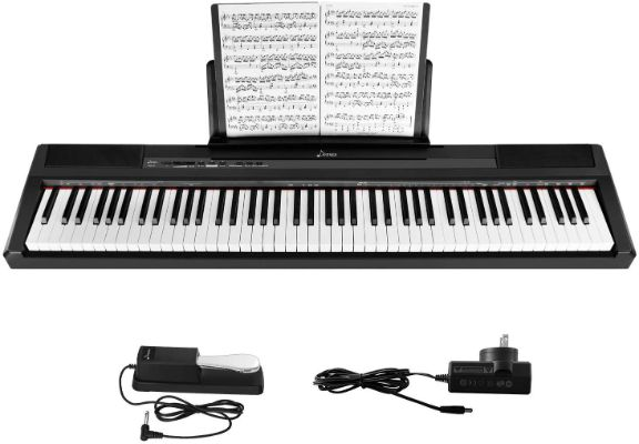 Donner DEP-10 Beginner Digital 88 Key Full-Size Semi-Weighted Keyboard, Portable Electric Piano