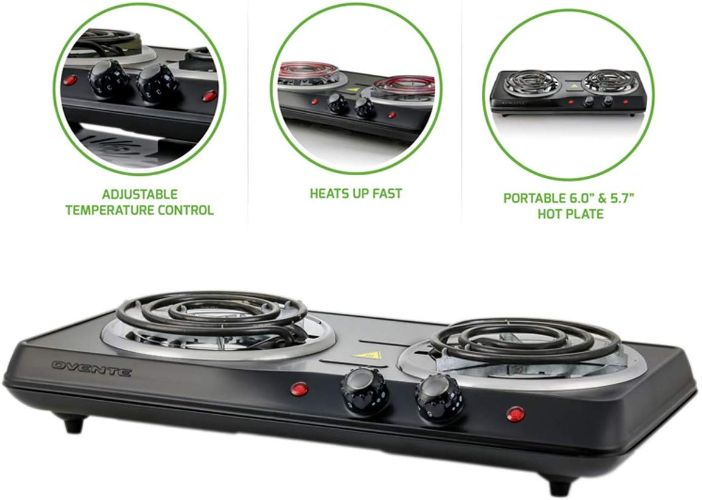 Ovente Electric Double Coil Burner 6 Inch Hot Plate