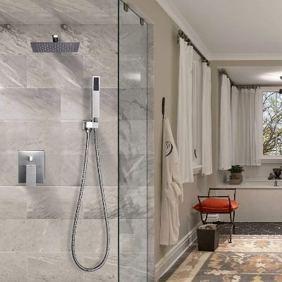 Esnbia Brushed Nickel Shower System; Shower Faucet Set with Valve and 12 Rain Shower Head Systems
