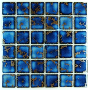 Vogue Premium Quality Square Blue Calacatta Porcelain Mosaic Glossy Tile for Bathroom Floors, Walls