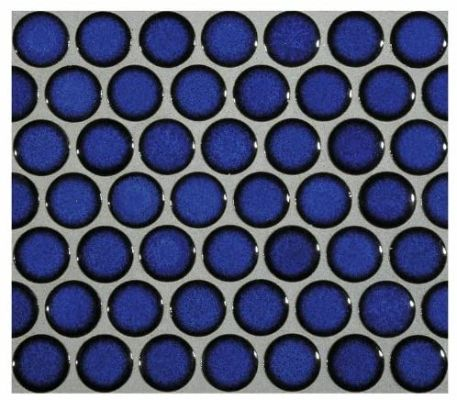 12x12 Cobalt Blue Porcelain Penny Round Glossy Look for Bathroom Floors and Walls