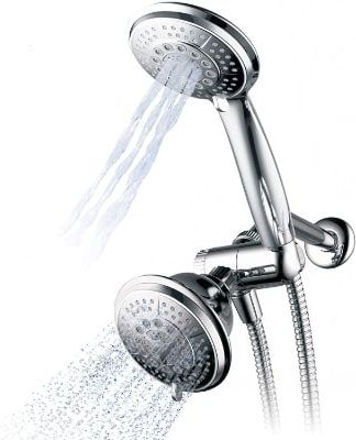Hydroluxe 1433 Handheld Showerhead & Rain Shower Combo. High Pressure 24 Function 4 Face Dual