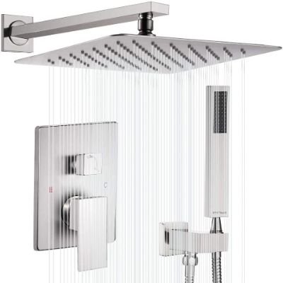 Esnbia Shower System, Brushed Nickel Shower Faucet Set with Valve and 10 Rain Shower Head Systems