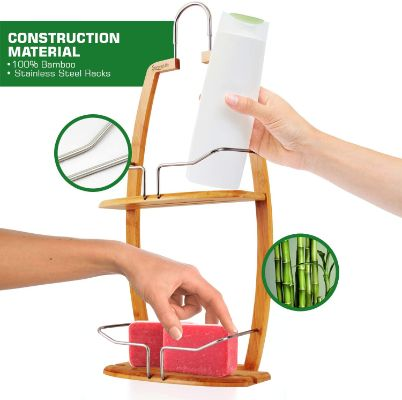 Rustproof Hanging Wood Shower Caddy