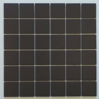 Vintage Black Unglazed Square 2x2 Inch Porcelain Floor & Wall Tile